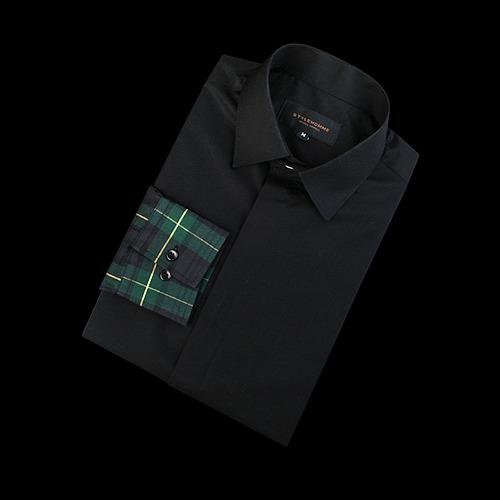 87475 팔배색 체크 셔츠 (Green)