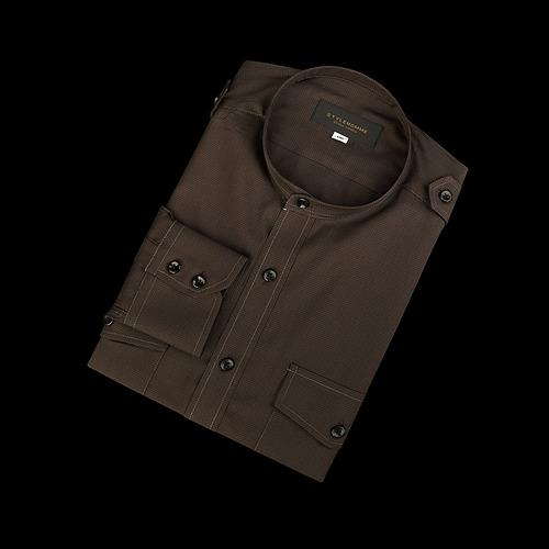 88880 No.73-A 잔 하운드투스체크 차이나 견장 셔츠 (Brown)