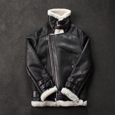 89558 AC 벨로시티 사선지퍼 디테일 라이더 무스탕점퍼 (Black+White)