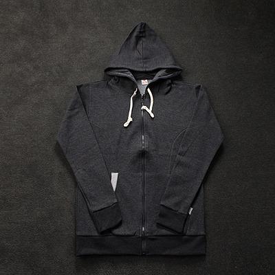 89747 투톤배색 집업 후드 티셔츠 (Dark Gray)