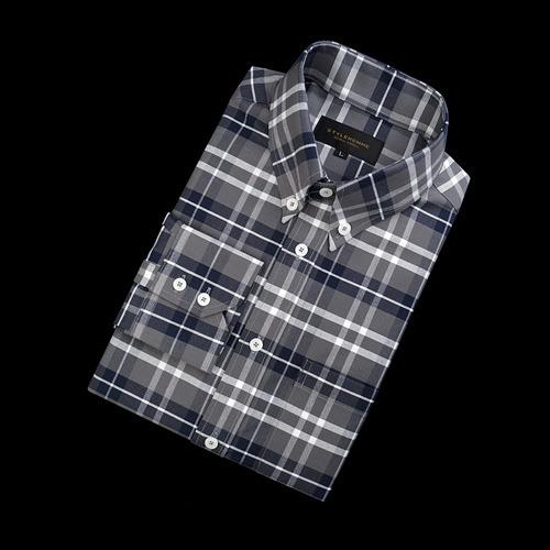 89492 TH 완장 체크 셔츠 (Dark Gray)