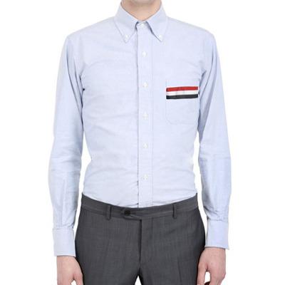 90291 체스트포켓 삼색라인 포인트 옥스포드 워싱 셔츠 (Sky Blue)