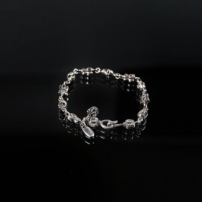92757 크라운 스컬 후크 팔찌 (Silver)