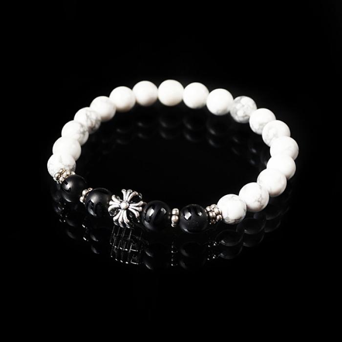 93018 크로스 볼 투톤 매트 원석 팔찌 (White+Black)