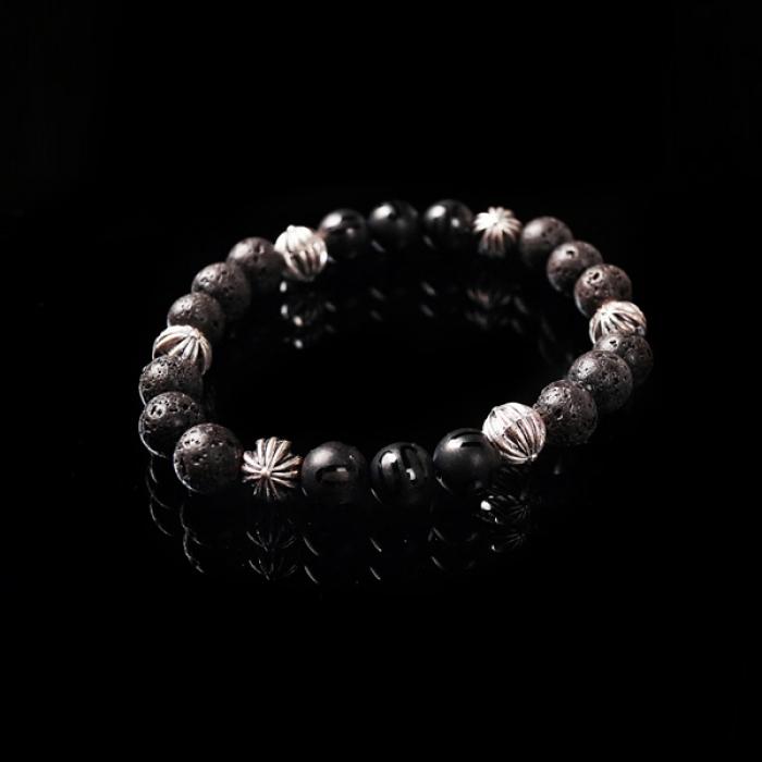 93019 크로스 볼 매트 크랙 원석 팔찌 (Black)