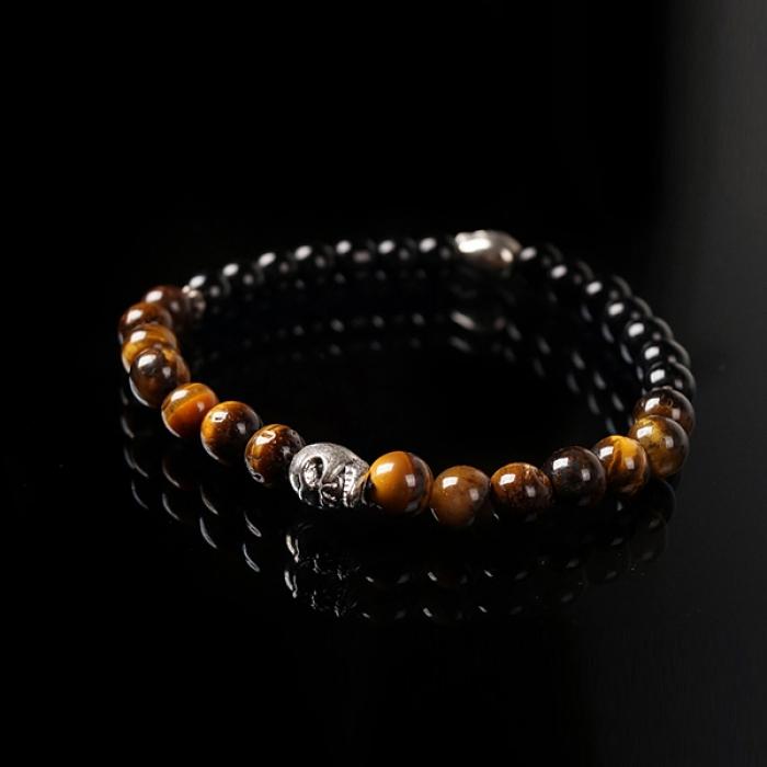 93020 투 페이스 스컬 글로시 하프 원석 팔찌 (Brown+Black)