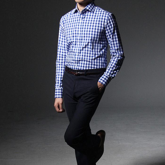 75043 모르간 체크 패턴 셔츠 (Blue)