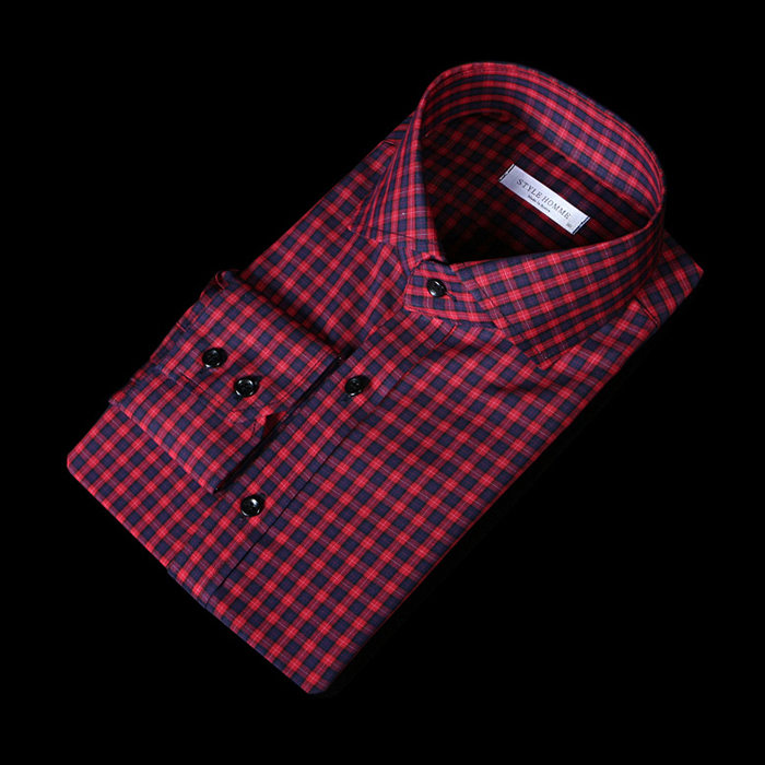 76145 No.59 프리미엄 블럭 스트라이프 체크 패턴 셔츠 (Red)