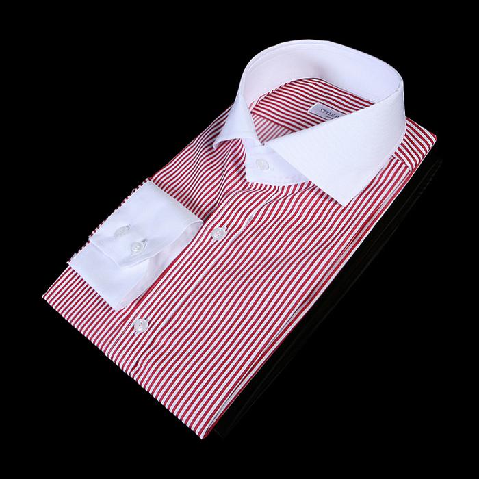 78286 no.81 프리미엄 와이드카라 잔 스트라이프 배색 셔츠 (Red)