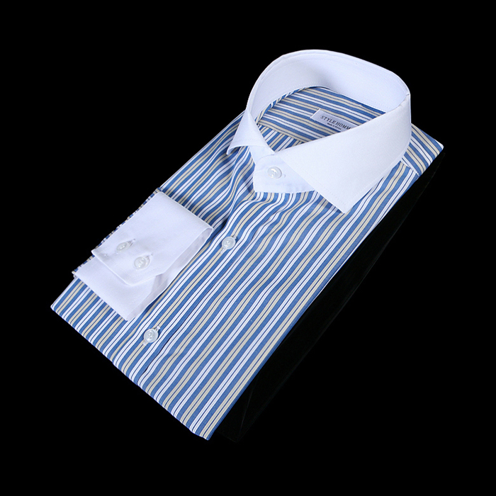 78287 no.82 프리미엄 와이드카라 멀티 스트라이프 배색 셔츠 (Blue)
