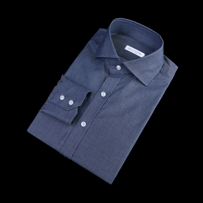80869 No.01-a  프리미엄 솔리드 디테일 셔츠 (Navy)