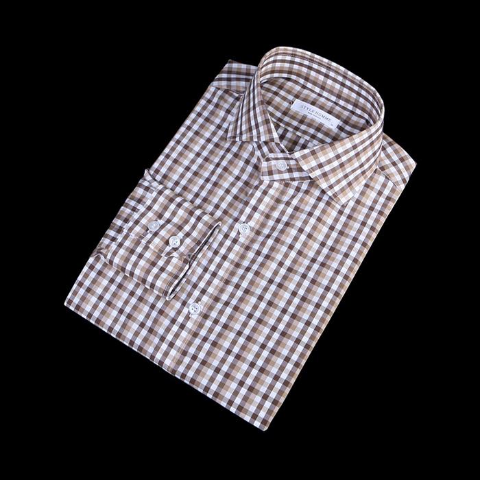 80871 No.09-a 프리미엄 잔체크 디테일 셔츠 (Brown)