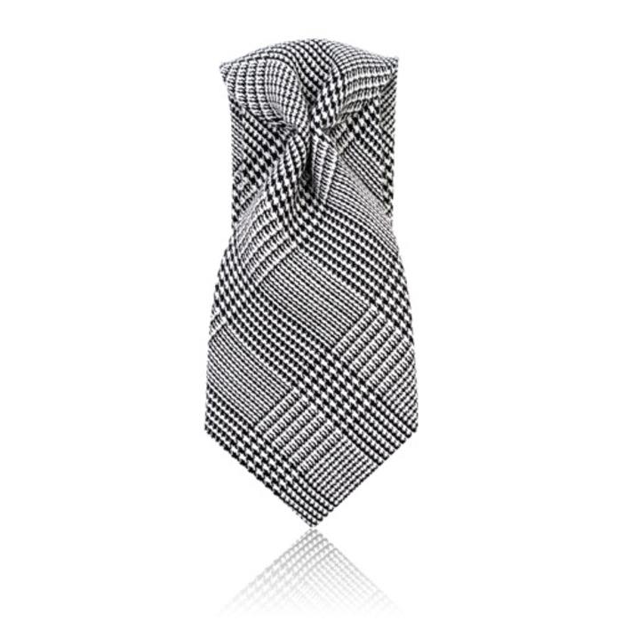 91946 하운드투스 체크 8.1cm 넥타이 (Black&White)