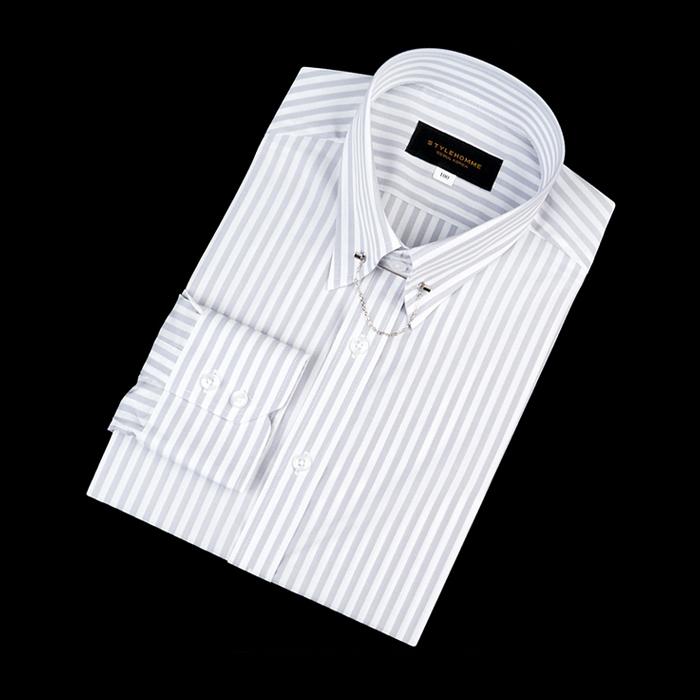 92157 No.02-B 스트라이프 칼라바 전용 셔츠 (Gray)