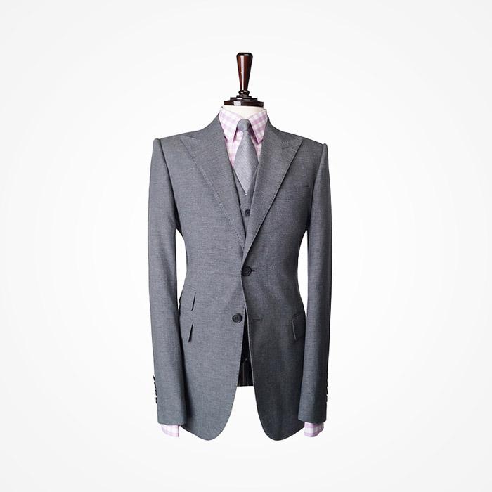 87126 라펠 호시 디테일 세미 헤링본 싱글 자켓 (Gray)