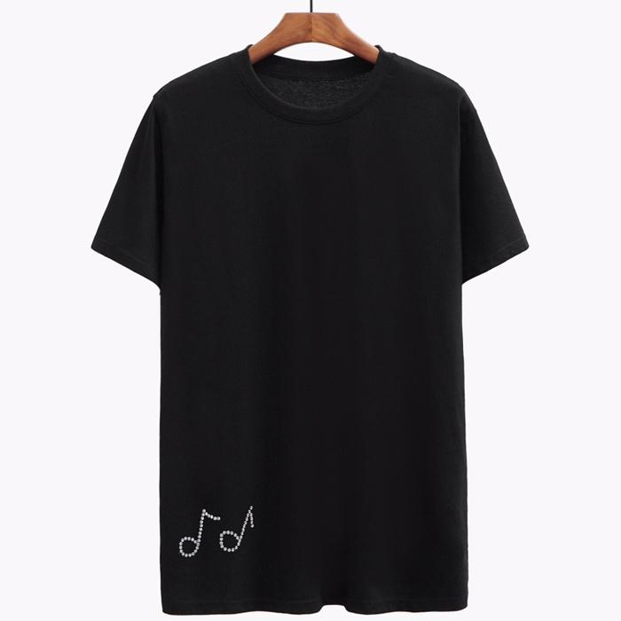98828 큐빅음표 라인 하프 티셔츠 (Black)