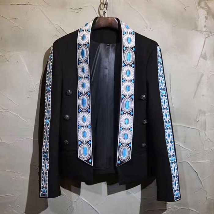 99777 지오매트리 라인 숄카라 자켓 (Black)