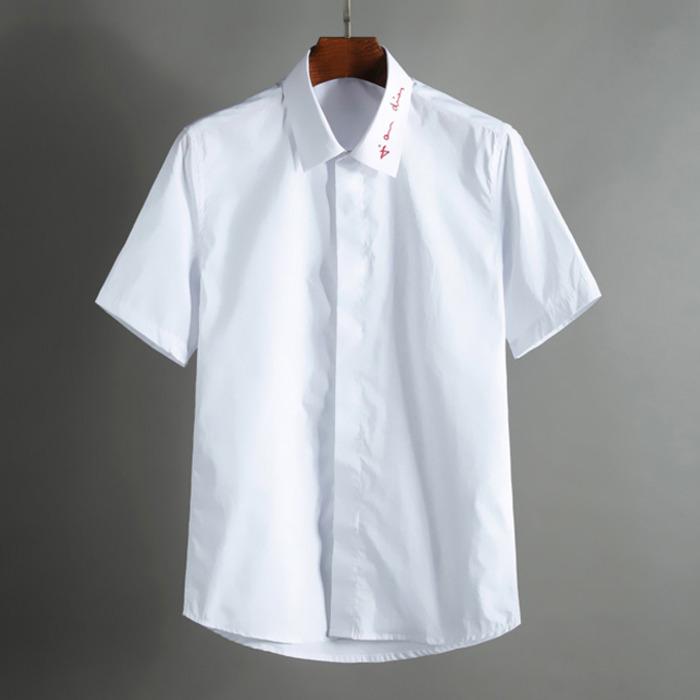 100361 DI 시그니처 카라 레터링 셔츠 (White)