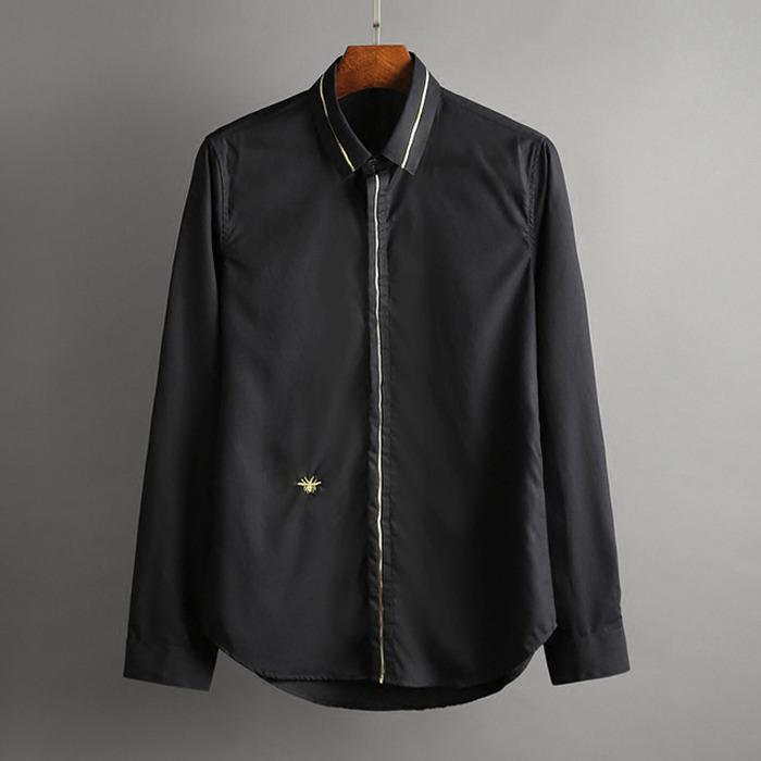 100386 DI 미니멀 금사자수라인 히든버튼 셔츠 (2Color)