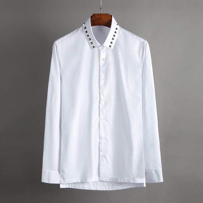 100393 사각 스터드 네크라인 히든버튼 셔츠 (White)