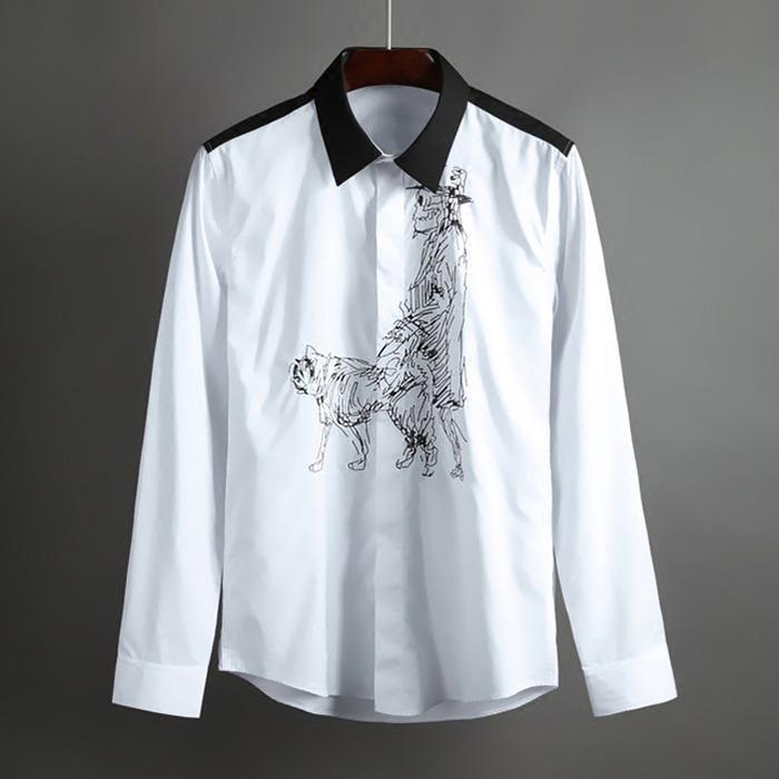 100410 배색라인 스케치 히든버튼 셔츠 (White)