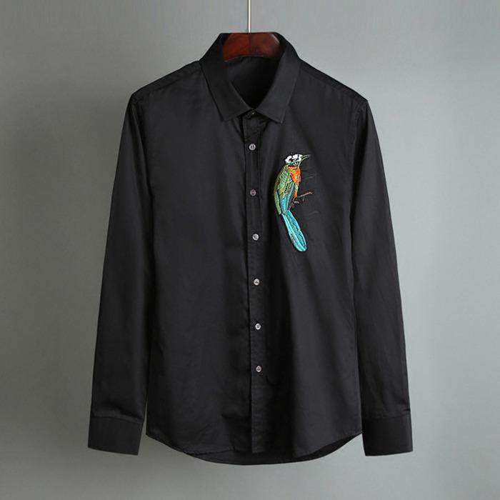 100412 베이직 앵무새 자수라인 셔츠 (2Color)