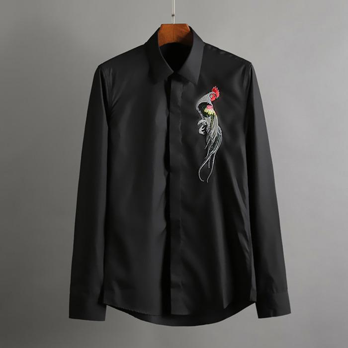 100416 미니멀 체스트 봉황자수 히든버튼 셔츠 (2Color)