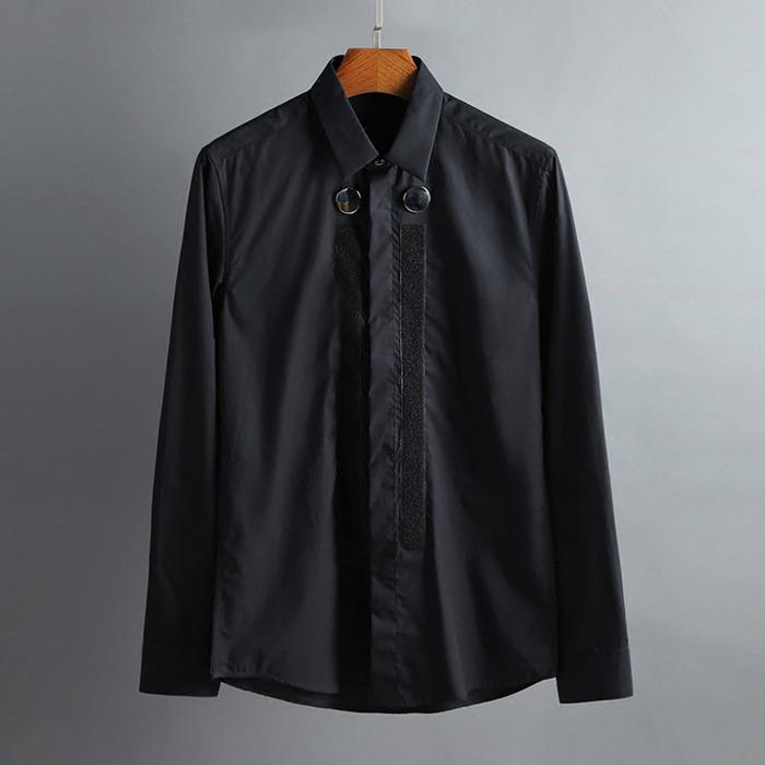 100418 미니멀 더블버튼 히든버튼 셔츠 (2Color)