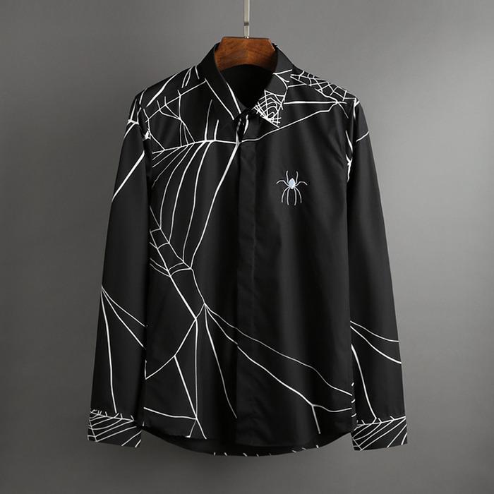 100448 스파이더 라인 패턴 히든버튼 셔츠 (2Color)
