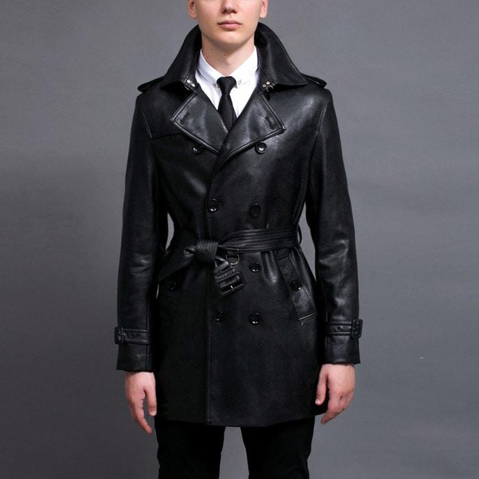 100500 미니멀라인 레더 더블 트렌치 코트 (Black)