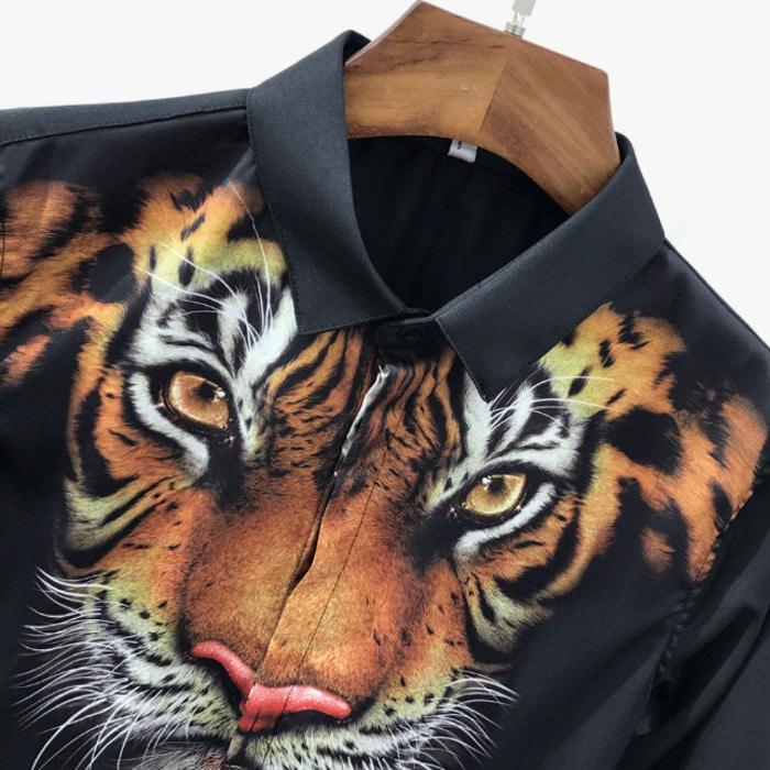 100513 유니크 타이거 페이스 히든버튼 셔츠 (2Color)
