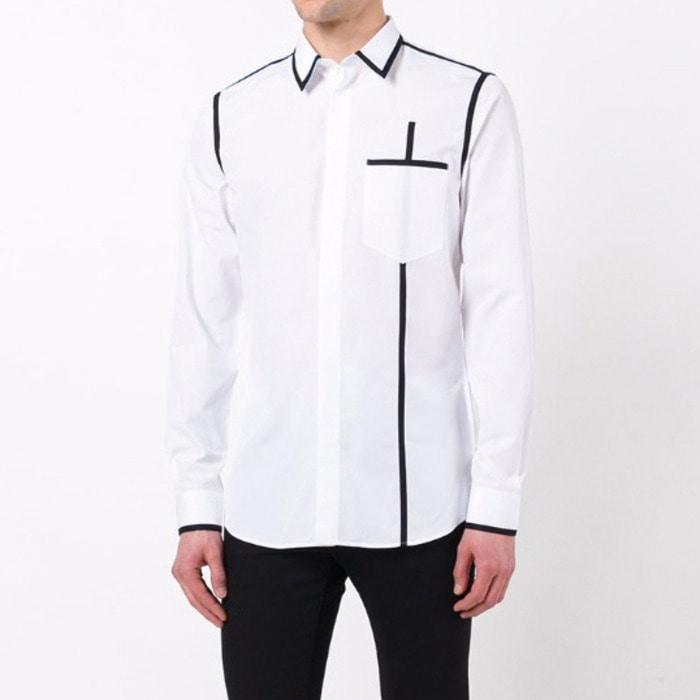 100522 파이핑라인 히든버튼 셔츠 (White)