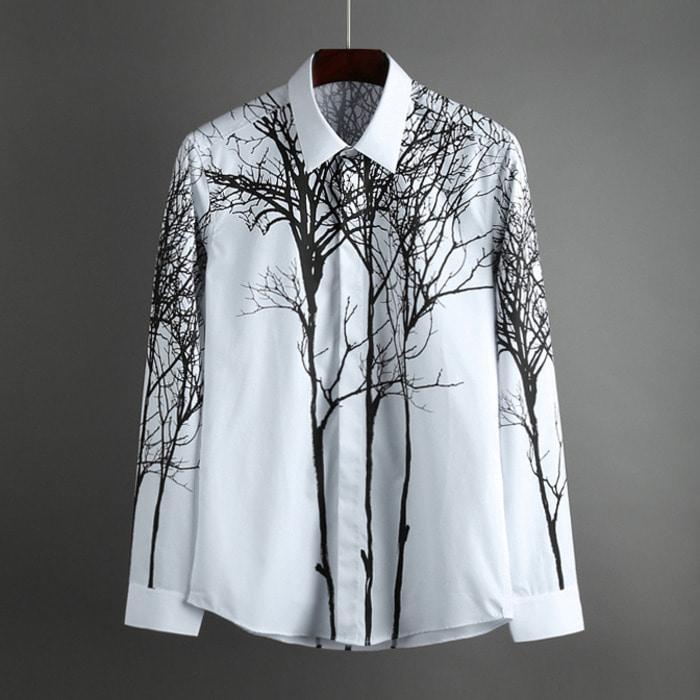 100555 유니크 트리 히든버튼 셔츠 (White)