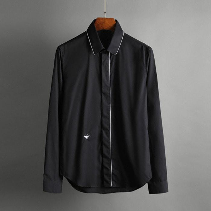100584 DI 미니멀 파이핑라인 히든버튼 셔츠 (Black)