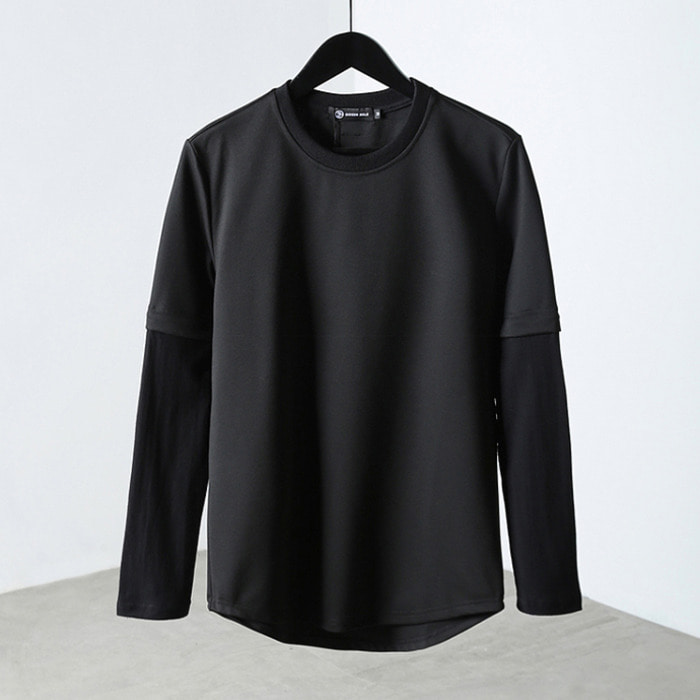 100605 미니멀 소매배색라인 티셔츠 (Black)