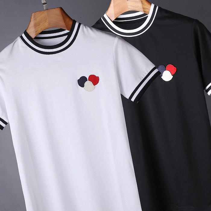 100743 미니멀 패치라인 하프 티셔츠 (2Color)