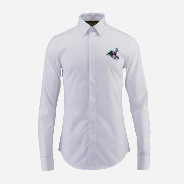 100933 AC 시그니처 버드패치 히든버튼 셔츠 (2Color)