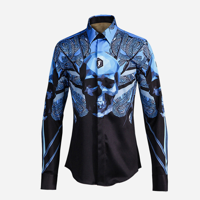 100946 3D 스컬 히든버튼 셔츠 (Blue+Black)