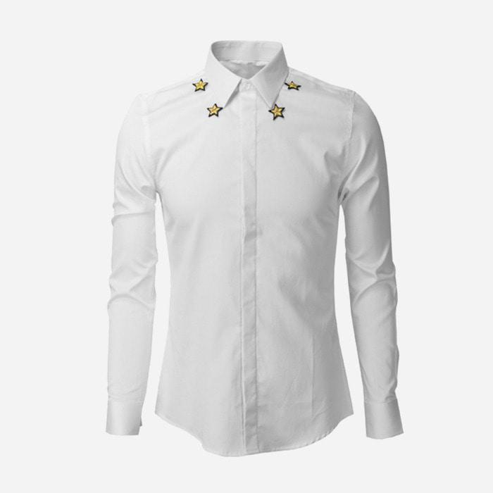 101002 GI 골드스타 네크라인 히든버튼 셔츠 (2Color)