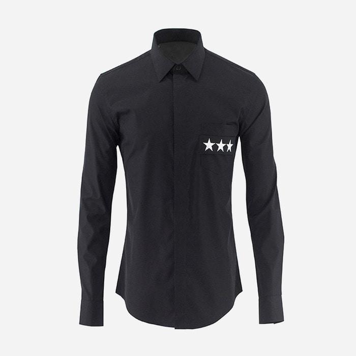 101020 체스트 스타자수 히든버튼 셔츠 (2Color)