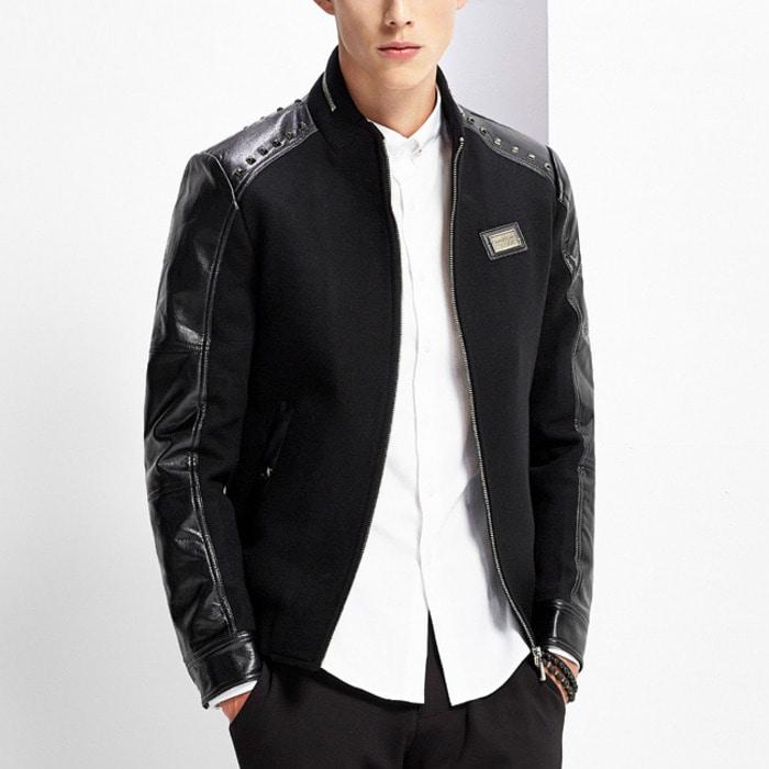 101092 레더 소매라인 집업 모직 블루종 점퍼 (Black)