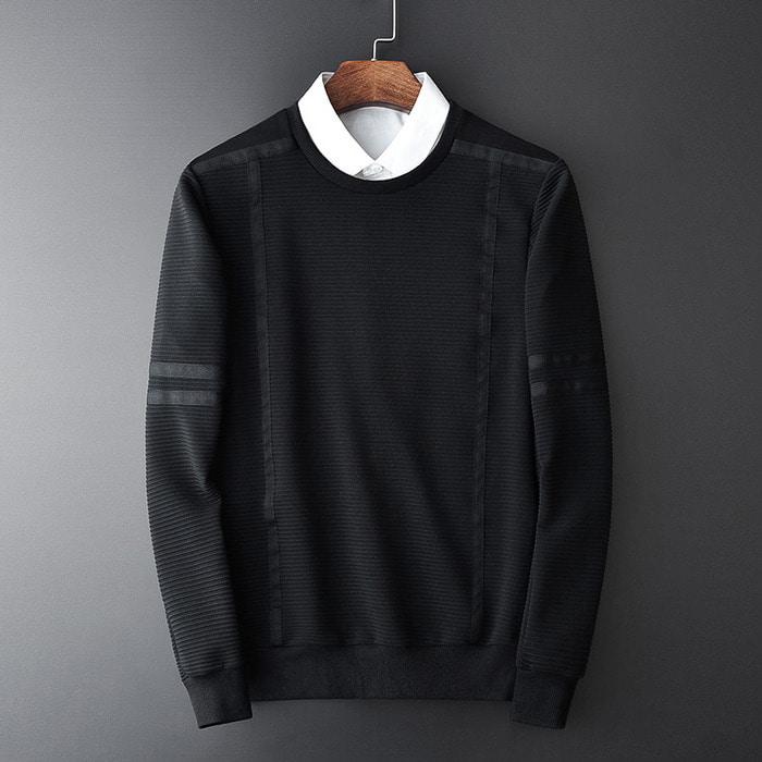 101164 줄지라인 테이핑 맨투맨 티셔츠 (Black)