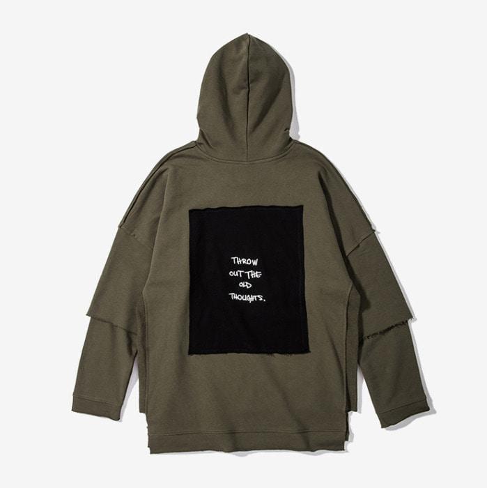 101627 절개 레이어드 타이포패치 후드 티셔츠 (2Color)