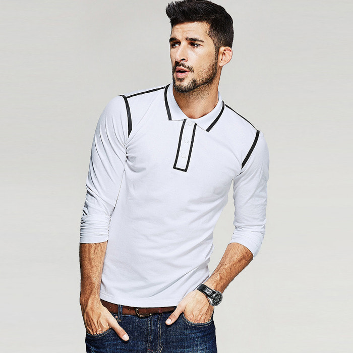 101741 베이직 배색 카라 티셔츠 (White)