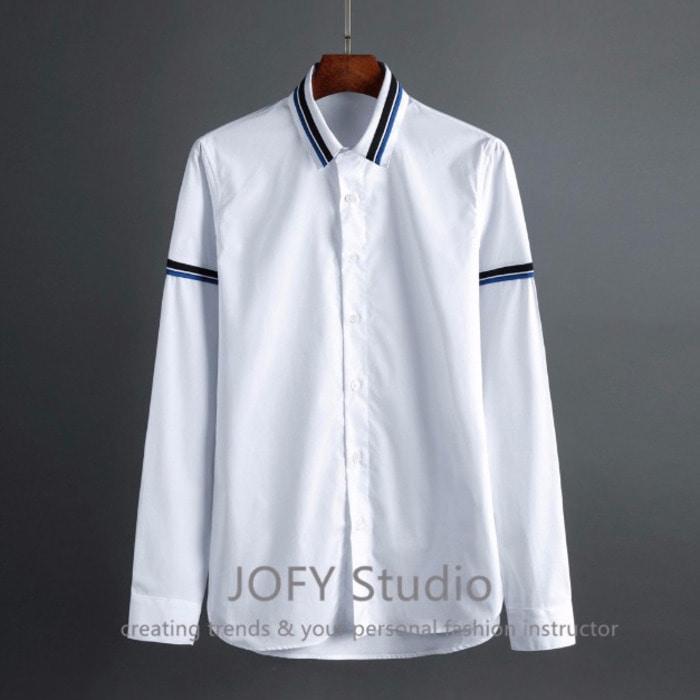 101998 미니멀 더블라인 셔츠 (White)