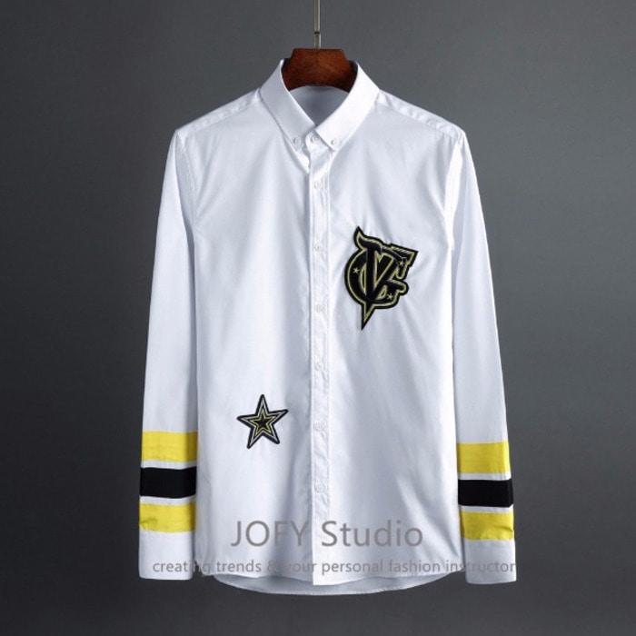 102002 타이포패치 소매배색 셔츠 (White)