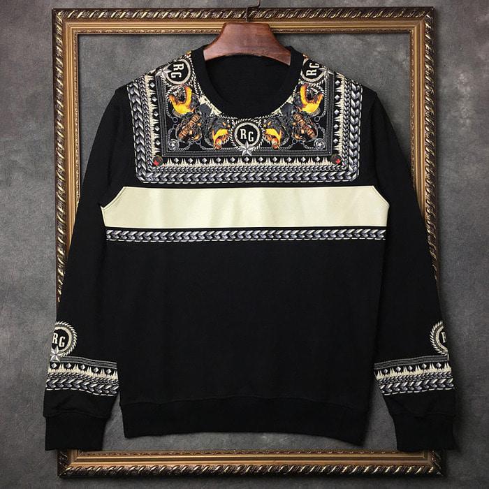 102107  유니크 사슬패턴 맨투맨 티셔츠 (Black)