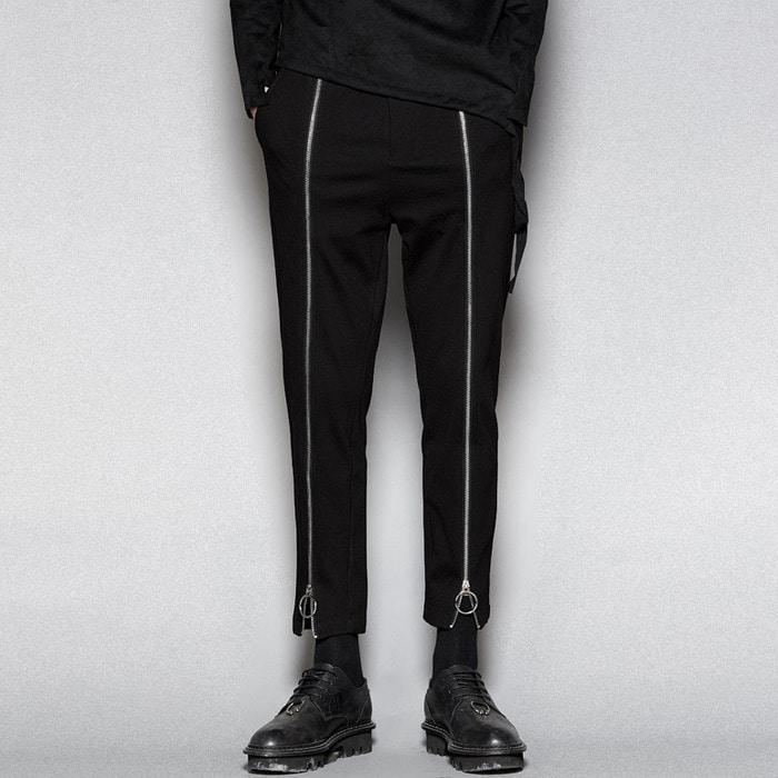 102560 유니크 지퍼라인 트레이닝 팬츠 (Black)
