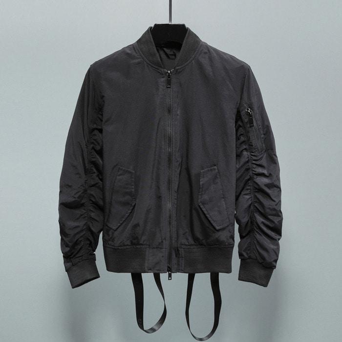 102562 로프 셔링 소매 MA-1 점퍼 (Black)