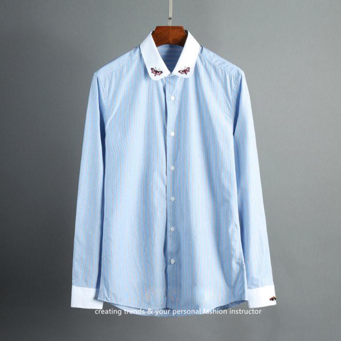 103688 GU 나비자수 티킹 스트라이프 셔츠 (Sky Blue)